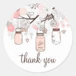 Pink Mason Jars and Love Birds Thank You Sticker