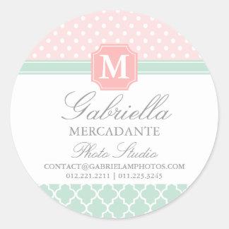 Pink Mint Polka Dots Moroccan Business Custom Round Sticker