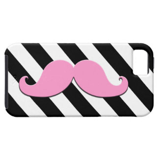 Pink Moustache Black Stripes iPhone 5 Covers