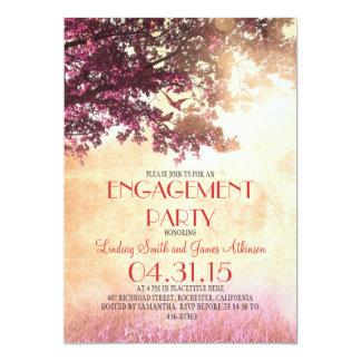 Pink old oak tree & love birds engagement party 13 cm x 18 cm invitation card