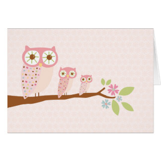 Pink Owls in a Row card