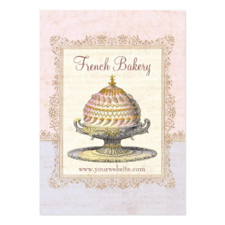 Pink Paris Victorian French Cake for Elegant Baker Pack Of Chubby Business Cards