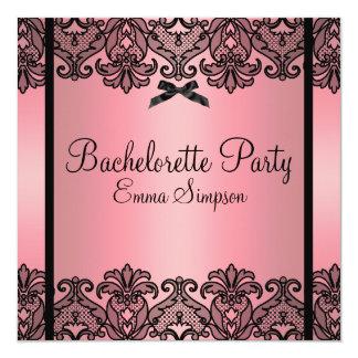 Pink Peach & Black Damask Lace Bachelorette Invite