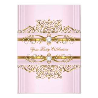 Pink Pearls White Gold Elegant Birthday Party 13 Cm X 18 Cm Invitation Card