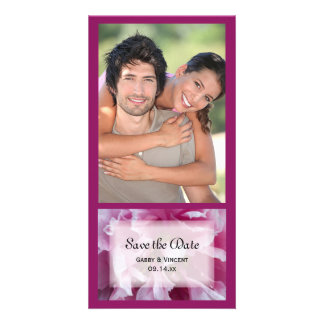 Pink Peony Flower Wedding Save the Date Customised Photo Card
