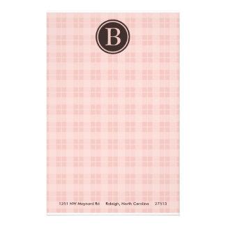 Pink Plaid Monogram Stationary Customized Stationery