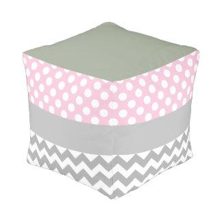 Pink Polka Dot Chevron Poof Cube Pouffe