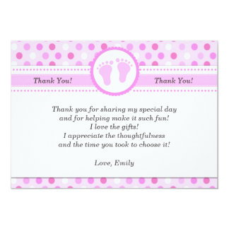 Pink Polka Dots Baby Girl Shower Thank You Card 13 Cm X 18 Cm Invitation Card