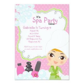 Pink Pretty Girl Spa Birthday Party 13 Cm X 18 Cm Invitation Card