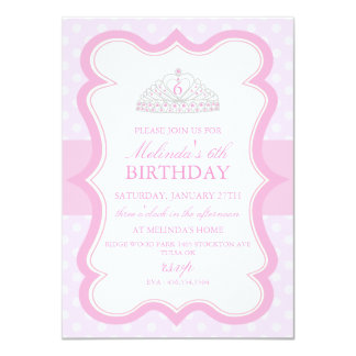 Pink Princess Tiara Girls Birthday Invitation