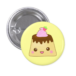 pink pudding cute! 3 cm round badge