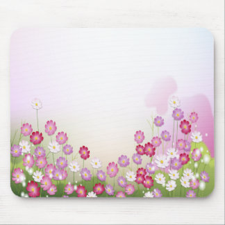 Pink, Purple and White Flowers Mouse Pad