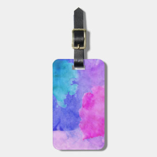 Pink, Purple, Teal, and Blue Watercolor Smudges Tag For Luggage