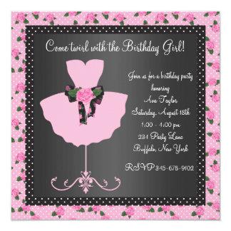 Pink Rose Ballerina Girls Ballerina Birthday Party 13 Cm X 13 Cm Square Invitation Card