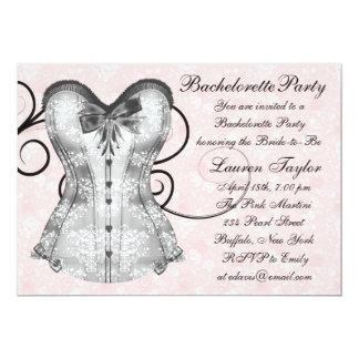 Pink Rose Corset Pink Black Bachelorette Party 13 Cm X 18 Cm Invitation Card