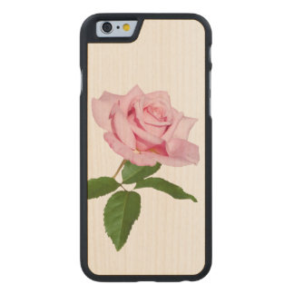 Pink Rose Flower with Dew Drops Customizable Carved® Maple iPhone 6 Case