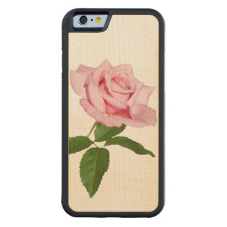 Pink Rose Flower with Dew Drops Customizable Maple iPhone 6 Bumper