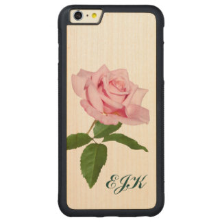 Pink Rose Flower with Dew Drops, Monogram Carved® Maple iPhone 6 Plus Bumper Case