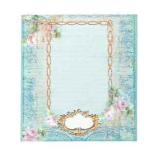 Pink Rose French Script and Lace Scratch Pads