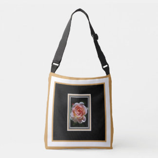 Pink Rose with Design Cross Body Bag Tote Bag