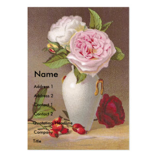 Pink Roses in White Vase Victorian Trade Card Pack Of Chubby Business Cards