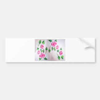 PINK ROSES WATERCOLOR BUMPER STICKER