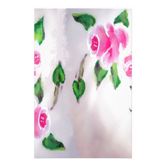 PINK ROSES WATERCOLOR STATIONERY DESIGN