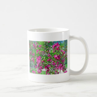 Pink spring flowers on branches basic white mug