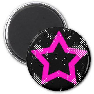 pink-star 6 cm round magnet