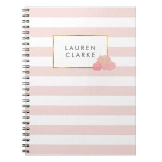 Pink Stripe & Blush Peony Notebook
