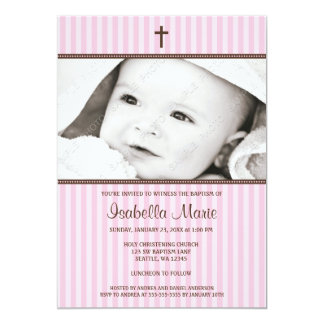 Pink Stripes and Brown Cross Girl Photo Baptism 13 Cm X 18 Cm Invitation Card