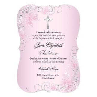 Pink Swirl Butterfly & Cross Baptism Invitation