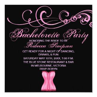 Pink Swirl & Corset Bachelorette Party Invitation