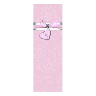 Pink Swril Heart Pink Cross Bomboniere Tags Pack Of Skinny Business Cards