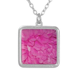 Pink Tissue Paper Flower Texture Square Pendant Necklace