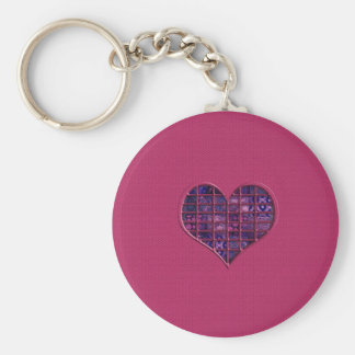 Pink trendy girly heart with purple material basic round button key ring