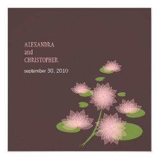 Pink Water Lily Elegant Simple Contemporary Weddin 13 Cm X 13 Cm Square Invitation Card