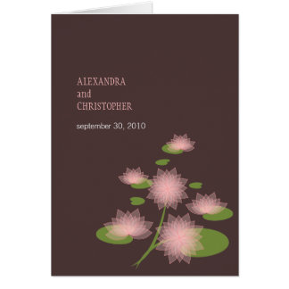 Pink Water Lily Elegant Simple Contemporary Weddin Greeting Card