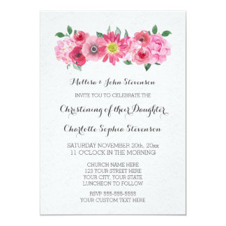 Pink Watercolor Floral Christening Invitation