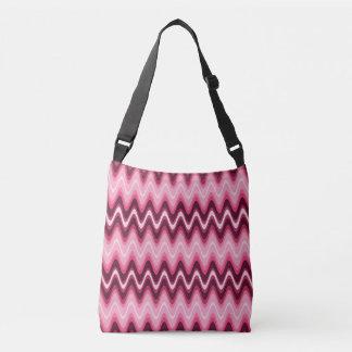 Pink Waves Cross Over Body Bag Tote Bag