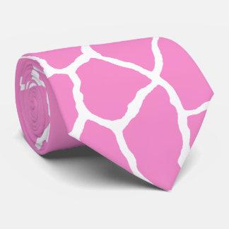 Pink White Giraffe Skin Pattern Tie