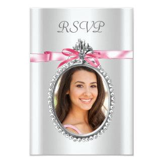 Pink White Photo RSVP Cards 9 Cm X 13 Cm Invitation Card
