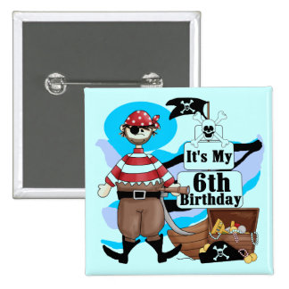 Pirate 6th Birthday t-shirts and Gifts 15 Cm Square Badge