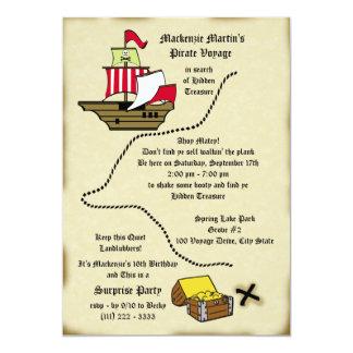 Pirate Birthday Voyage Map 13 Cm X 18 Cm Invitation Card