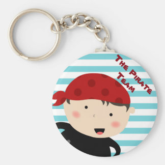 Pirate design with striped background basic round button key ring