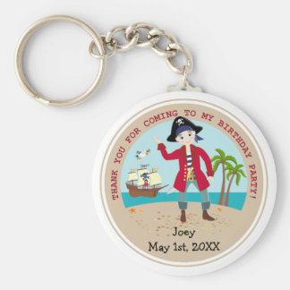 Pirate kid birthday party basic round button key ring