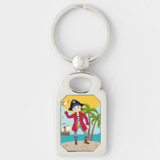 Pirate kid birthday party Silver-Colored rectangle key ring