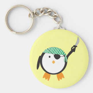 Pirate Penguin With Sword Basic Round Button Key Ring