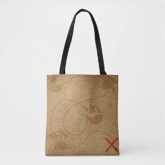 Pirate Treasure Map Vintage Rustic Caribbean Tote Bag