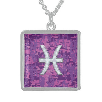 Pisces Zodiac on Fuchsia Pink Digital Camouflage Square Pendant Necklace